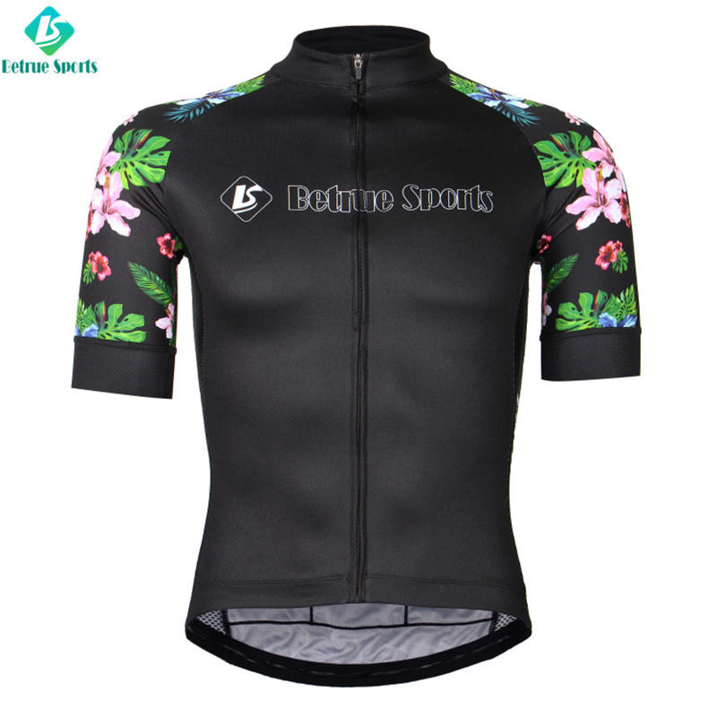 Summer flowers men cycling jersey for road bike BQ0021