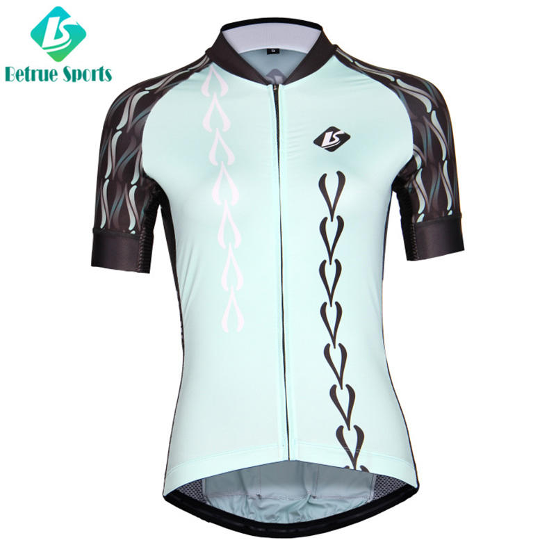 Corrugated light blue women cycling jersey BQ7001